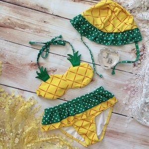 Other - Girls Pineapple Bikini 3pc Set